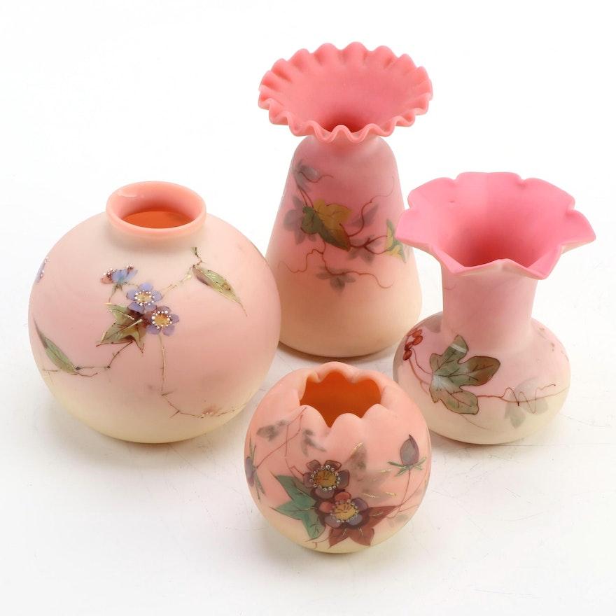 "Thomas Webb & Sons ""Queen's Burmese"" Glass Bud Vases, Late 19th Century"