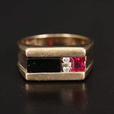 Vintage 10K Black Onyx, Ruby and Diamond Ring