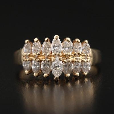 14K 1.00 CTW Diamond Pyramid Ring