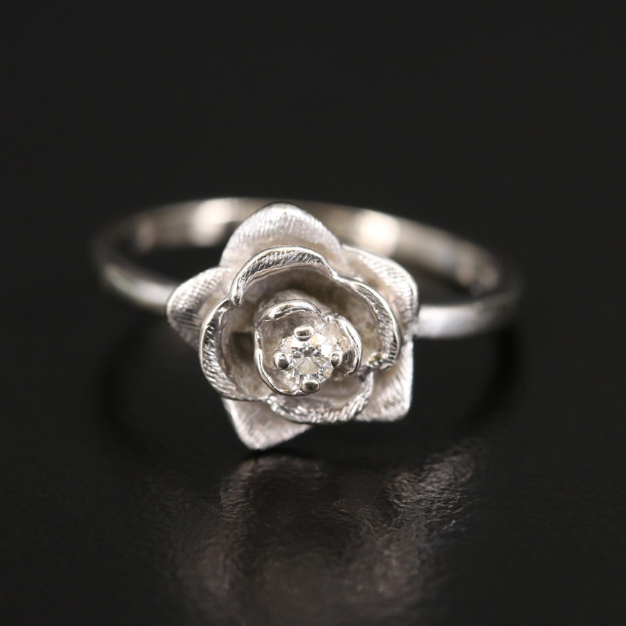 14K Diamond Rose Ring
