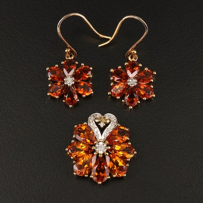 Sterling Citrine and Diamond Flower Pendant and Earrings