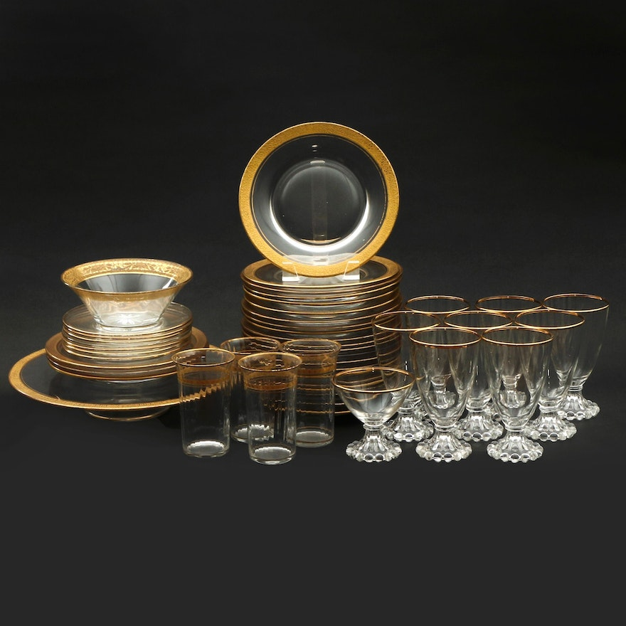 """Anchor Hocking """"Boopie"""" Glasses and Other Gilt Accented Dinnerware"""