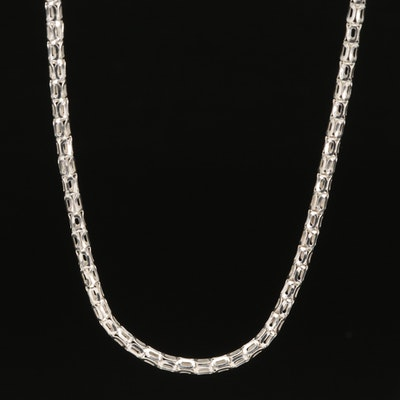 Italian Sterling Geometric Link Necklace