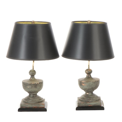 Pair of Painted Turned Wood Post Finial Table Lamps with Black Paper Shades
