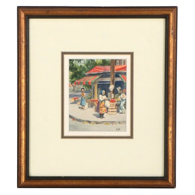 "Market Street Scene Watercolor Painting ""Kensington Market"""