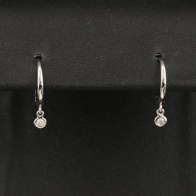 14K Small Hoop Earrings with Diamond Charm