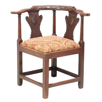 George III Carved Mahogany Corner Chair, Late 18th Century