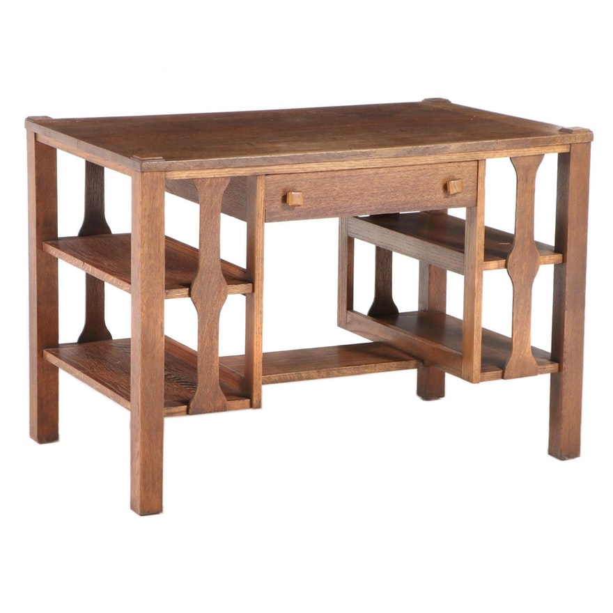 John M. Smith Co. Arts and Crafts Quartersawn Oak Library Table with Bookshelves