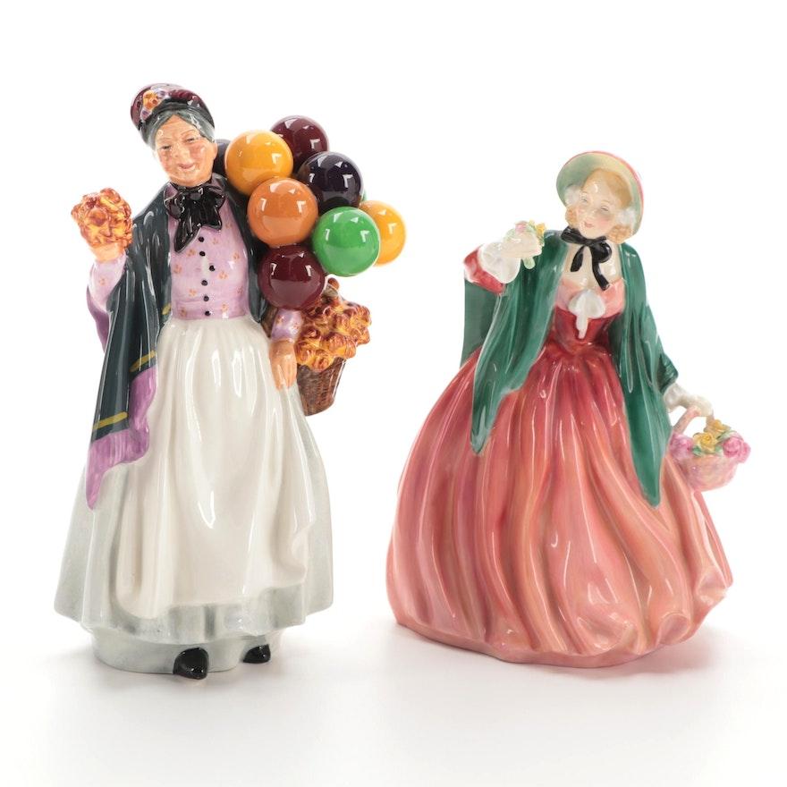 "Royal Doulton ""Lady Charmian"" and ""Biddy Pennyfarthing"" Bone China Figurines"