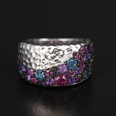 SeidenGang Sterling Amethyst, Rhodolite Garnet and London Blue Topaz Wave Band