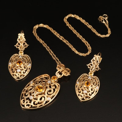 Sterling Citrine and Diamond Necklace and Earring Set