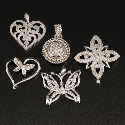 Sterling Silver Diamond Pendants Featuring Butterfly and Heart Designs