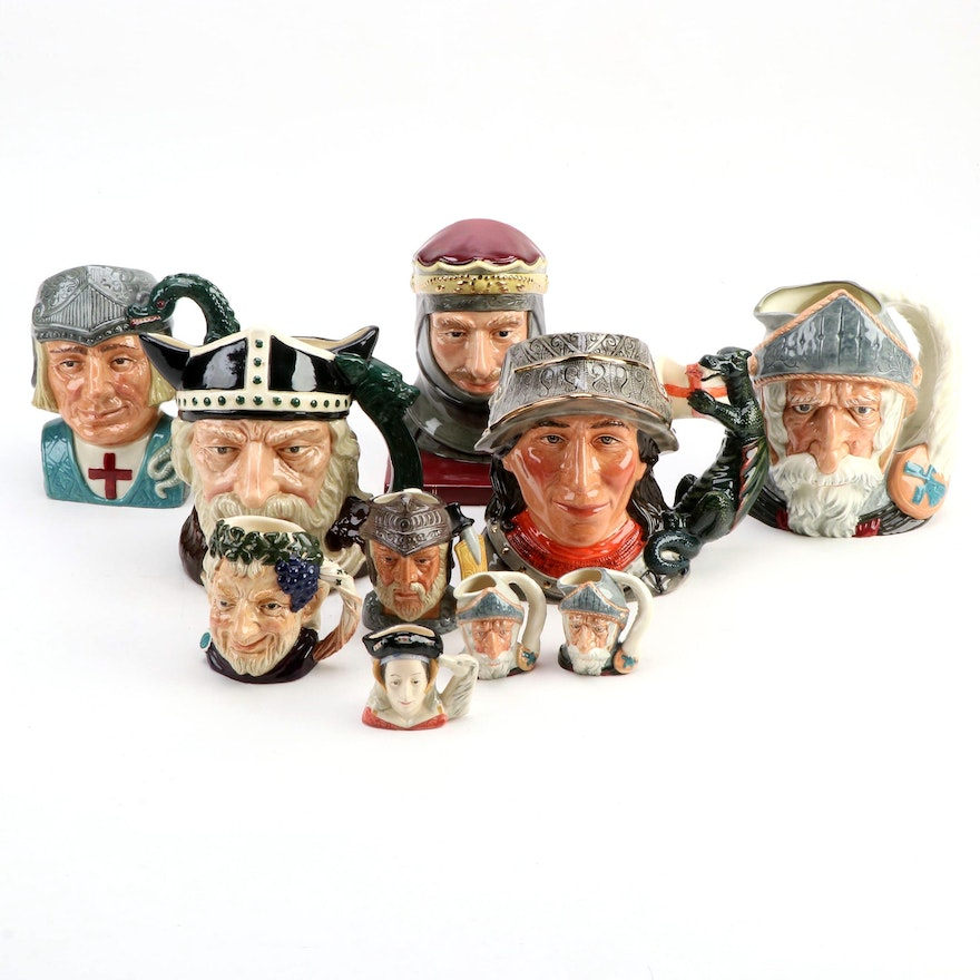 """Royal Doulton """"St. George"""" and Other Character Jugs, Mid to Late 20th Century"""