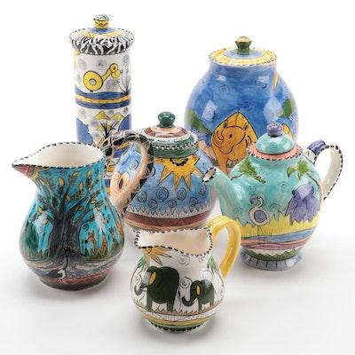 Penzo Zimbabwe Hand-Painted Savannah Motif Pitchers, Teapot and Lidded Vessels