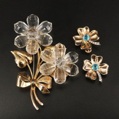 Retro Sterling Flower Brooch and Four Leaf Clover Earrings