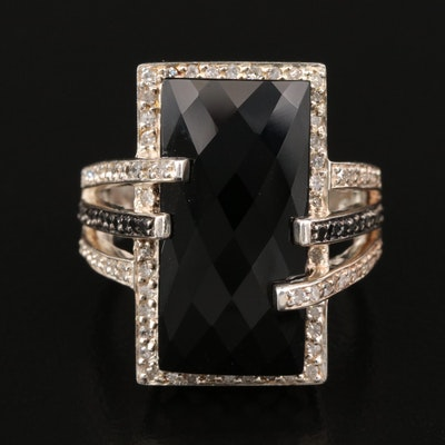 Sterling Black Onyx and Diamond Halo Ring with Split Shoulders