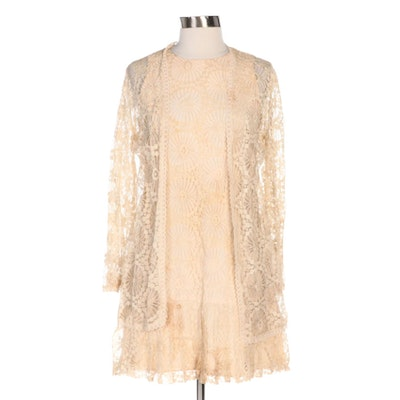 Saba of California Floral Lace Drop-Waist Shift Dress with Matching Jacket