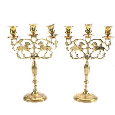 Brass Lion of Judah Sabbath Candelabra