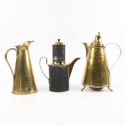 French Brass and Metal Percolator with Brass Coffeepot and Pitcher