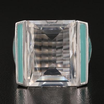 Sterling Rock Crystal Quartz and Enamel Statement Ring