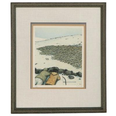 """William Kurelek Offset Lithograph """"Stalking Caribou,"""" circa 1975"""