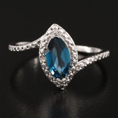 Sterling London Blue Topaz and Diamond Navette Ring