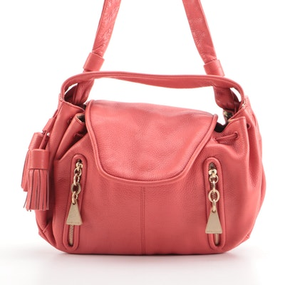 See by Chloé Cherry Drawstring Pink/Coral Leather Tassel Shoulder Bag