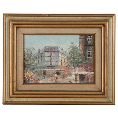 Impressionist Style Oil Painting of European Street Scene