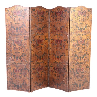 Renaissance Style Embossed and Polychrome Leather Room Divider