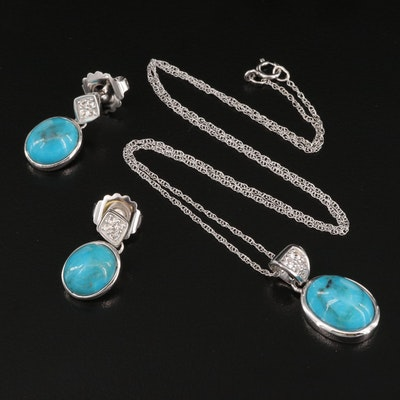 Sterling Turquoise and White Topaz Pendant Necklace and Earrings Set