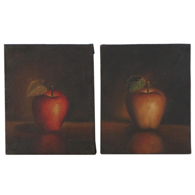 Still Life Oil Paintings of Apples, Mid to Late 20th Century