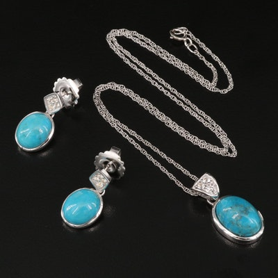 Sterling Turquoise and White Topaz Pendant Necklace and Earring Set