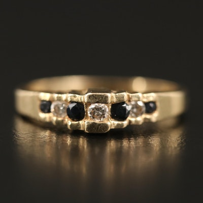 14K Diamond and Sapphire Stepped Ring