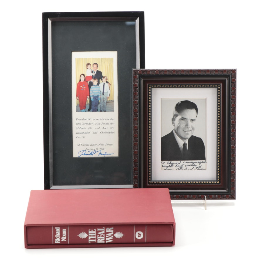 """Signed """"The Real War"""" by Richard Nixon with Framed Photographs"""