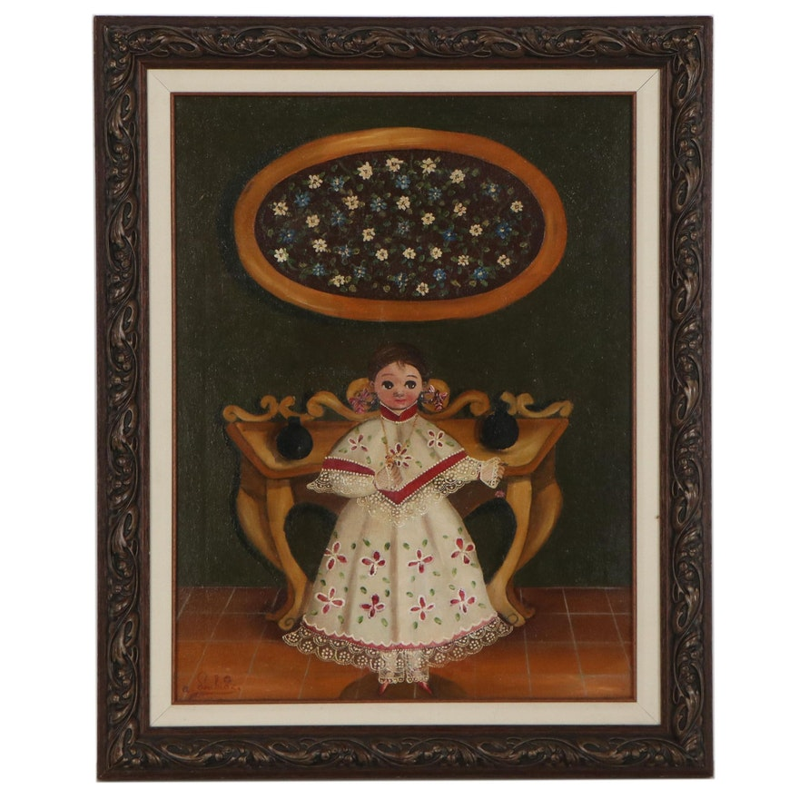 Agapito Labios Folk Art Oil Painting of a Girl, Mid-20th Century