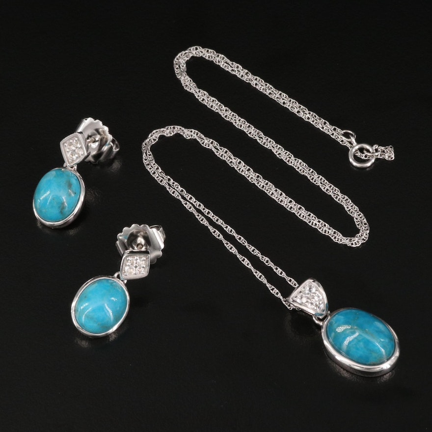 Sterling Turquoise and White Topaz Pendant Necklace with Earrings Set