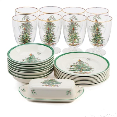 "Spode ""Christmas Tree"" Goblets, Dessert Bowls, Salad Plates, and Butter Dish"