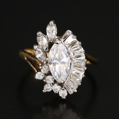 Cubic Zirconia Bypass Cluster Ring