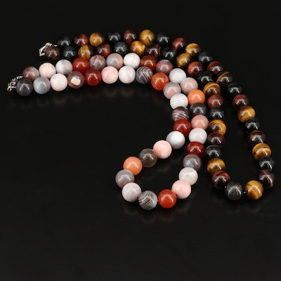 Beaded Agate and Tiger's Eye Necklaces with Sterling Clasps