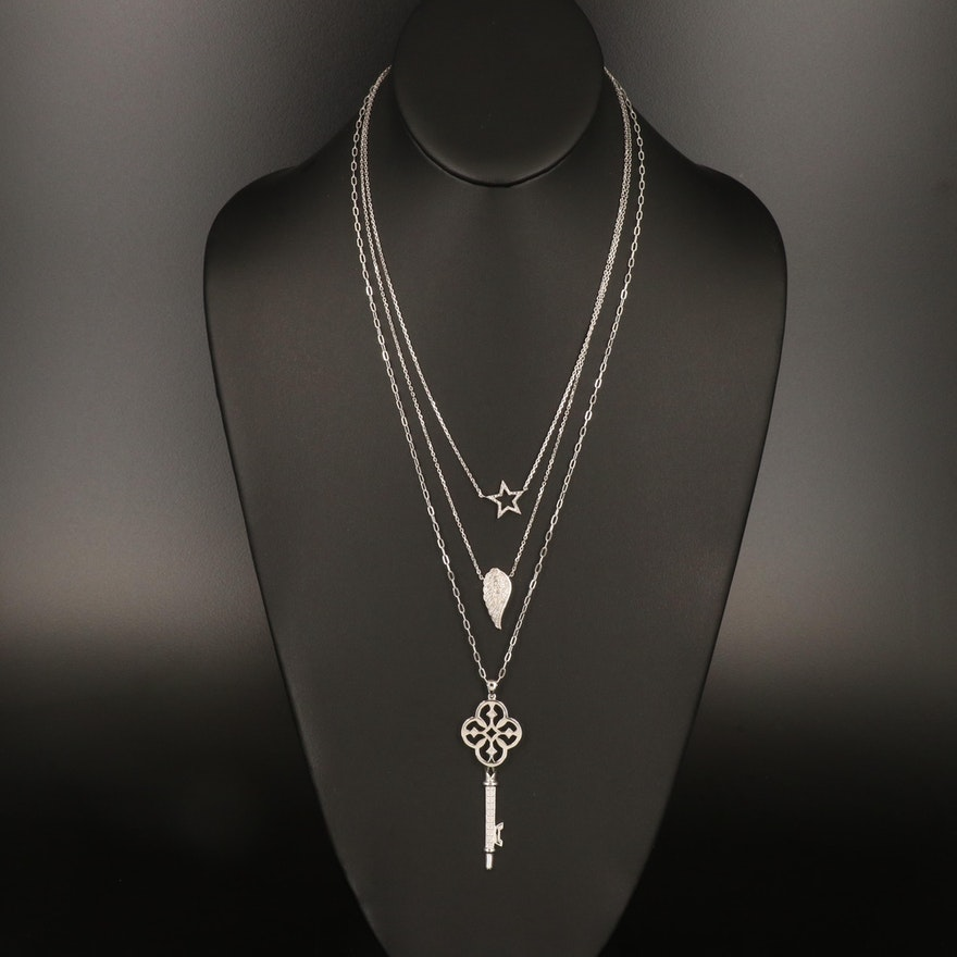Sterling Diamond Pendant Necklaces with Openwork Key, Star and Wing