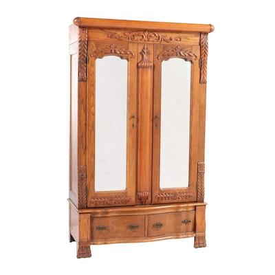 Late Victorian Oak Wardrobe, Early 20th Century