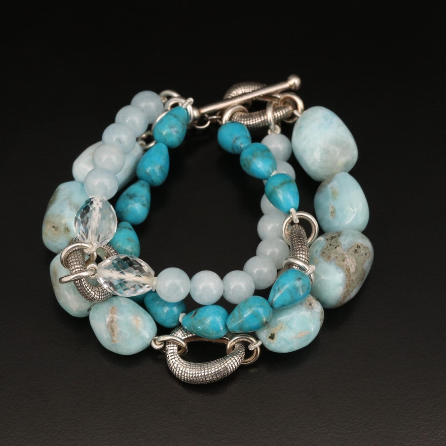 Michael Dawkins Bracelet Including Larimar, Beryl and Rock Quartz Crystal
