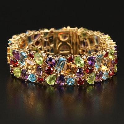 Sterling Diamond and Gemstone Cluster Bracelet