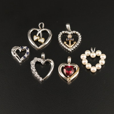 Sterling Heart Pendants with Sapphire, Ruby and Pearl