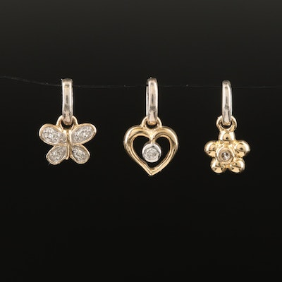 14K Diamond Heart, Flower and Butterfly Charms