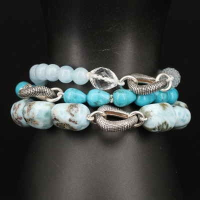 Michael Dawkins Sterling Larimar, Beryl and Turquoise Triple Strand Bracelet