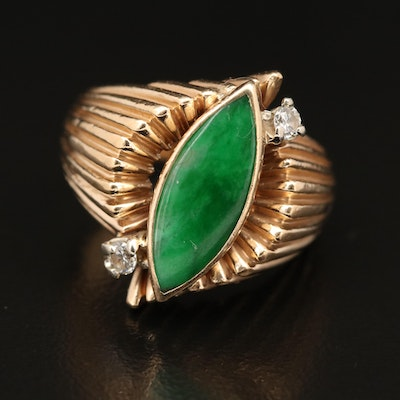 Vintage 14K Jadeite and Diamond Ring with Fluted Shoulders