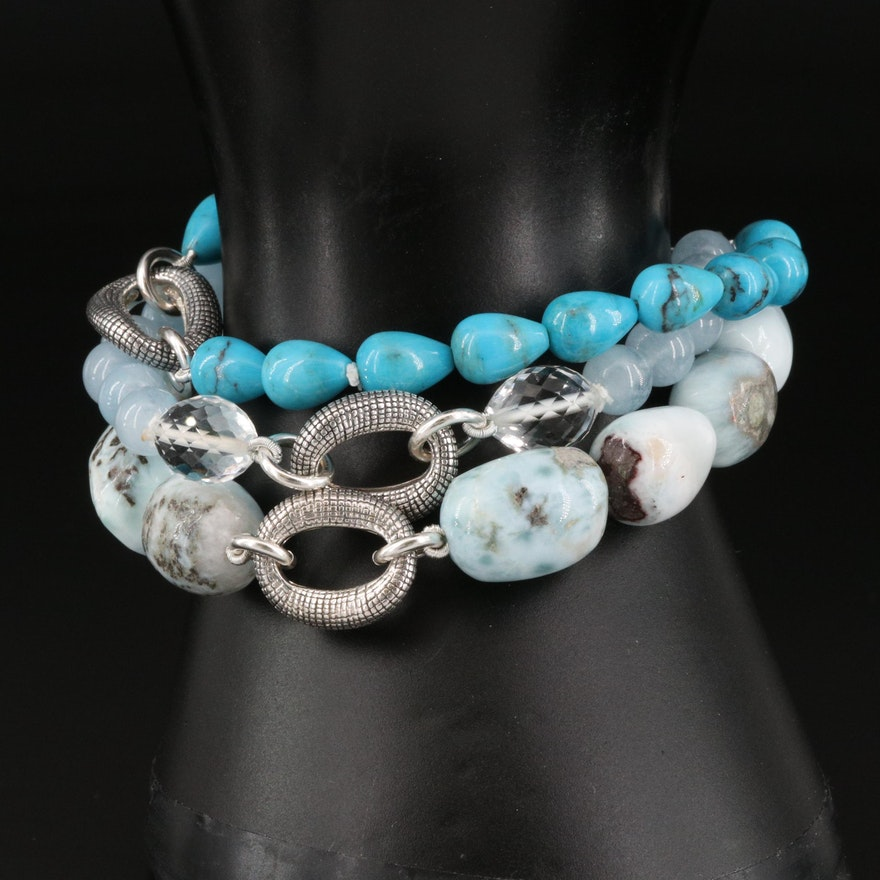 Michael Dawkins Multi-Gemstone Triple Strand Bracelet
