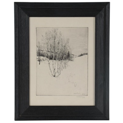 William Harry Warren Bicknell Landscape Drypoint Etching, Early 20th Century