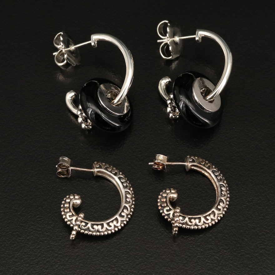 Sterling Silver Hoop Earrings with Black Onyx Accents